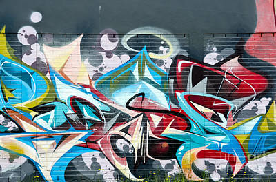 Vandalize Photograph - Colorful Abstract Graffiti Art On The Brick Wall by Yurix Sardinelly