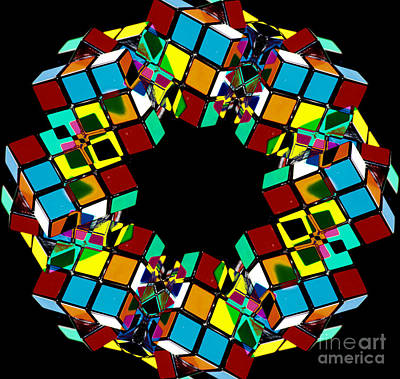 Logic Digital Art - Colorful Abstract Rubiks Cube Wreath by Beverly Claire Kaiya