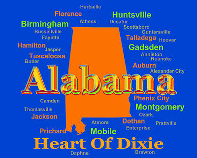 Colorful Alabama State Pride Map Silhouette  Art Print by Keith Webber Jr