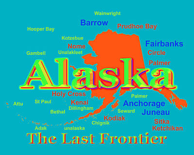 Kodiak Digital Art - Colorful Alaska State Pride Map Silhouette  by Keith Webber Jr