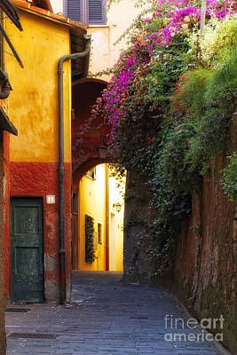 Colorful Alley In Portofino Art Print by George Oze