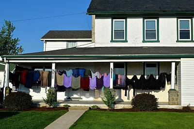 Photograph - Colorful Amish Laundry On Porch by Tana Reiff