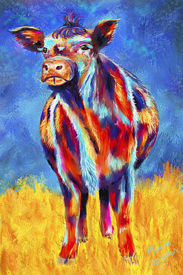 Cow Painting - Colorful Angus Cow by Michelle Wrighton