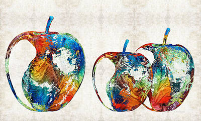Contemporary Painting - Colorful Apples By Sharon Cummings by Sharon Cummings