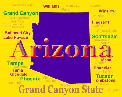 Scottsdale Digital Art - Colorful Arizona State Pride Map Silhouette  by Keith Webber Jr