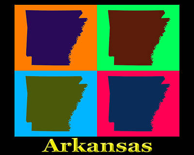Arkansas State Map Digital Art - Colorful Arkansas State Pop Art Map by Keith Webber Jr