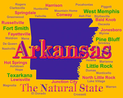 Clarksville Photograph - Colorful Arkansas State Pride Map Silhouette  by Keith Webber Jr