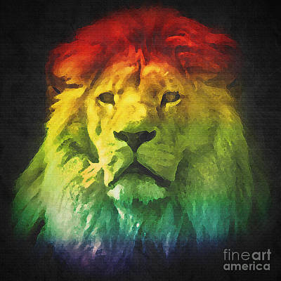 Abstract Photograph - Colorful Artistic Portrait Of A Lion On Black Background  by Michal Bednarek