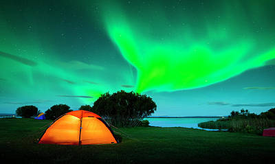 Photograph - Colorful Aurora Boreal In Green And by Subtik