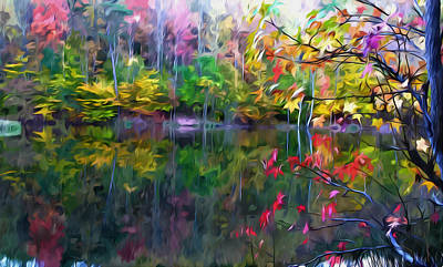 Trees Reflecting In Water Painting - Colorful Autumn Leaves Reflecting In The Water by Lanjee Chee