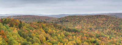 Autumn Scene Photograph - Nichols Pond Cabot Vermont Autumn Panorama by Andy Gimino