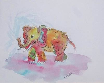 Painting - Colorful Baby Elephant by Ellen Levinson