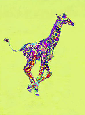 Digital Art - Colorful Baby Giraffe by Jane Schnetlage