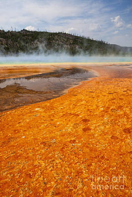Photograph - Colorful Bacteria Mat Surrounding Grand Prismatic Spring by Bryan Mullennix