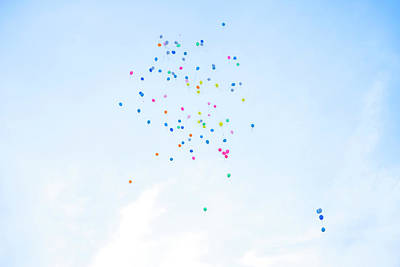 Flying Photograph - Colorful Balloons Flying Away In Blue by Malorny