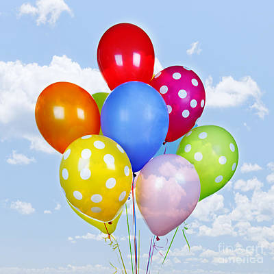 Colorful Balloons With Blue Sky Art Print