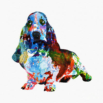 Mixed Media - Colorful Basset by Olga Hamilton