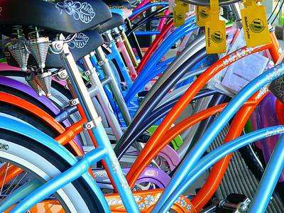 Photograph - Colorful Beach Cruisers by Jeff Lowe