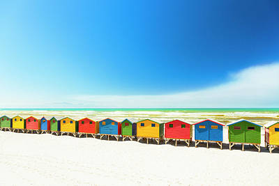 Colorful Beach Houses In Muizenberg Art Print by Spooh