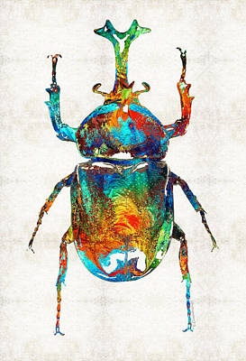 Ancient Symbols Painting - Colorful Beetle Art - Scarab Beauty - By Sharon Cummings by Sharon Cummings