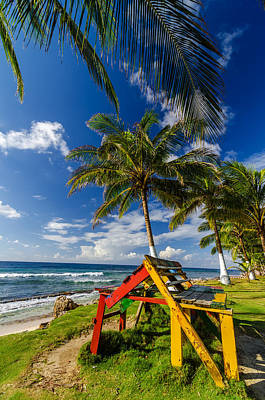Travel - Colorful Bench on Caribbean Coast by Jess Kraft