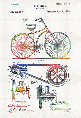 Collectible Art Painting - Colorful Bike Art - Vintage Patent - By Sharon Cummings by Sharon Cummings