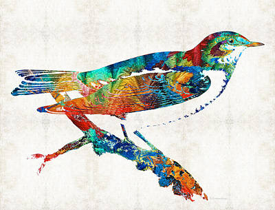 Colorful Bird Art - Sweet Song - By Sharon Cummings Art Print