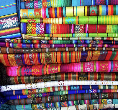 Colorful Blankets At Indigenous Market Art Print by Miva Stock