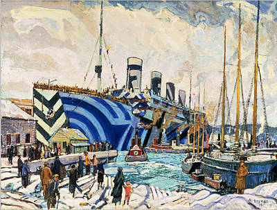 Arthur Lismer Photograph - Colorful Boat Ww1 Painting Print by Georgia Fowler