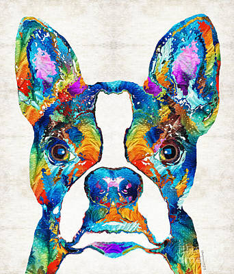 Colorful Boston Terrier Dog Pop Art - Sharon Cummings Art Print by Sharon Cummings