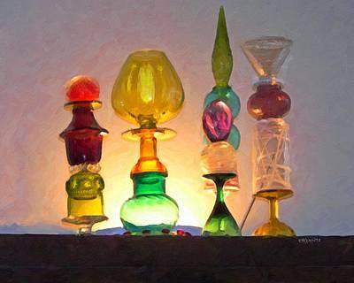 Reflections On Bottle Photograph - Colorful Bottles - An Artist Eye by Rebecca Korpita