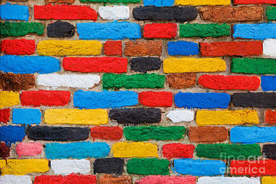 Brick Photograph - Colorful Brick Wall Unique Background by Michal Bednarek