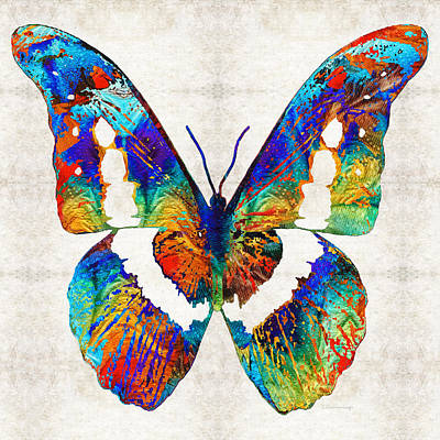 Colorful Butterfly Art By Sharon Cummings Art Print by Sharon Cummings