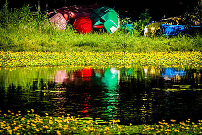 Photograph - Colorful Canoes by Karen Saunders
