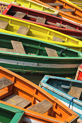 Canoe Photograph - Colorful Canoes, Manila, Philippines by Keren Su