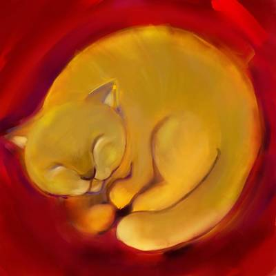 Colorful Cat 1 Art Print by Anna Gora