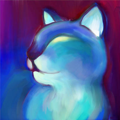 Digital Art - Colorful Cat 3 by Anna Gora