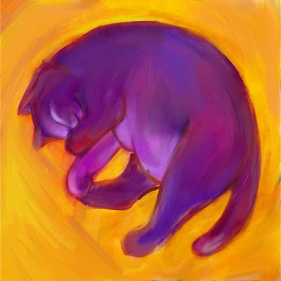 Digital Art - Colorful Cat 5 by Anna Gora