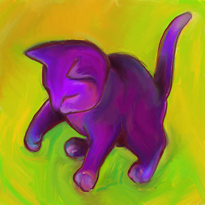 Digital Art - Colorful Cat 7 by Anna Gora