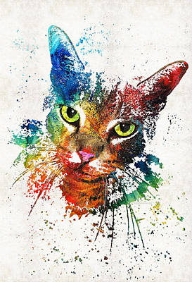 Primary Painting - Colorful Cat Art By Sharon Cummings by Sharon Cummings