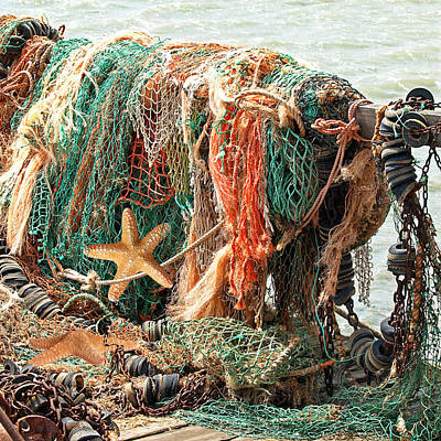 Colorful Catch - Starfish In Fishing Nets Square Art Print