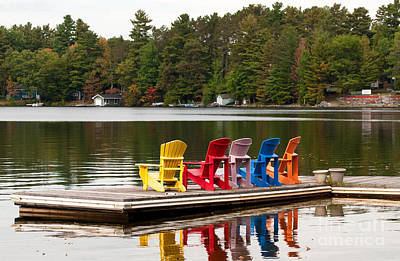 Photograph - Colorful Chairs At The Lake by Les Palenik