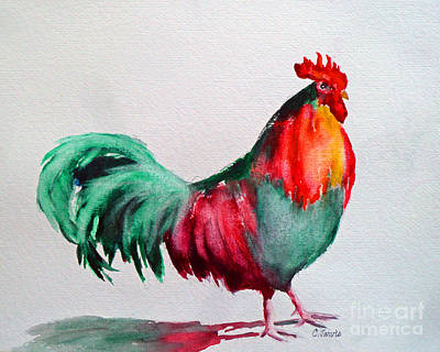 Painting - Colorful Chicken by Carolyn Jarvis