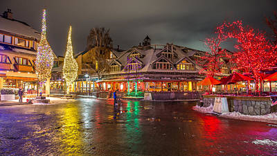 Colorful Christmas Lights In Whistler Village Art Print