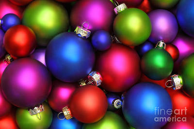 Colorful Christmas Ornaments Art Print