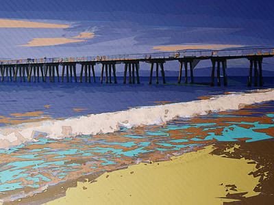 Abstract Beach Landscape Digital Art - Colorful Coastal Configuration by Phil Perkins