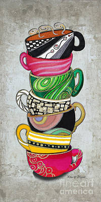 Colorful Coffee Cups Mugs Hot Cuppa Stacked II By Romi And Megan Art Print by Megan Duncanson
