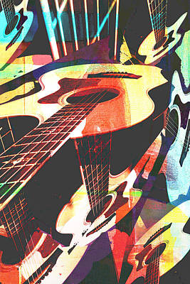 Photograph - Colorful Collaged Guitars by Susan Stone