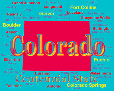 Dinosaur Map Photograph - Colorful Colorado State Pride Map Silhouette  by Keith Webber Jr