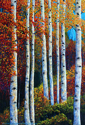 Painting - Colorful Colordo Aspens by Jennifer Morrison Godshalk